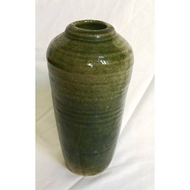 Vintage Hand Thrown Pottery Vase, Green - Image 6 of 9