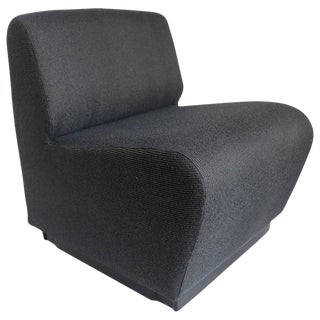 French 1970s Slipper Chair in Charcoal Gray For Sale