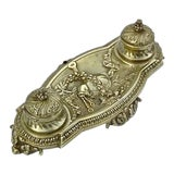 Image of Antique Scottish Brass Double Inkwell For Sale