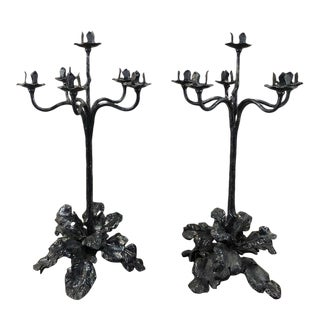 Pair 19th Century Country French Wrought Iron Candelabra For Sale