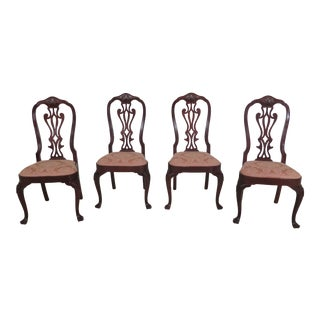 1990s Vintage Councill Craftsmen Mahogany Dining Room Chairs- Set of 4 For Sale