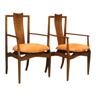 Pair Mid-Century Modern High Back Teak Danish Arm Chairs For Sale