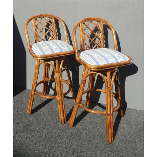 Vintage Tiki Palm Beach Bamboo Rattan Bar Stools - A Pair - Image 4 of 10