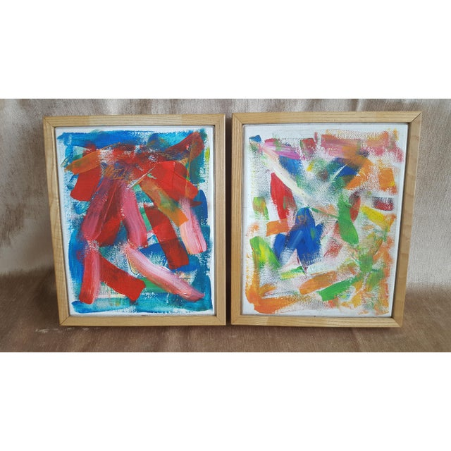 2000s A Pair- Original Abstract Acrylic Paintings in Cubed Wooden Frames For Sale - Image 5 of 13