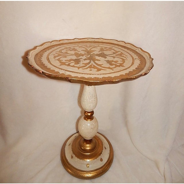Italian Gold Gilt Wood Florentine Round Pedestal Side Table - Image 3 of 10