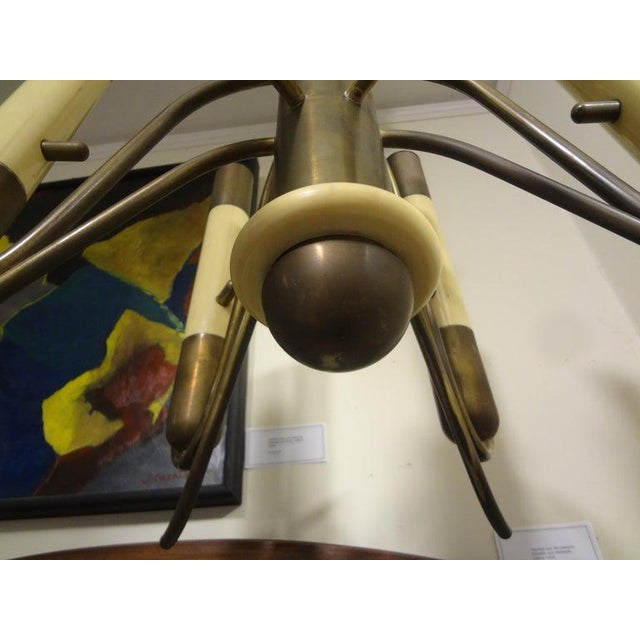 Italian Brutalist Brass and Bakelite Chandelier by Nucleo Forme For Sale - Image 9 of 13
