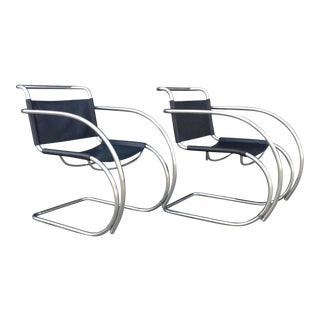 Pair of Ludwig Mies Van Der Rohe Vintage Reproduction Arm Chairs For Sale