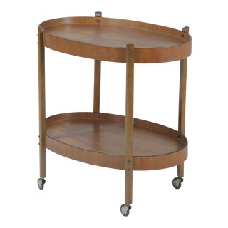 Mid-Century Walnut Tea or Bar Cart on Chrome Castors For Sale