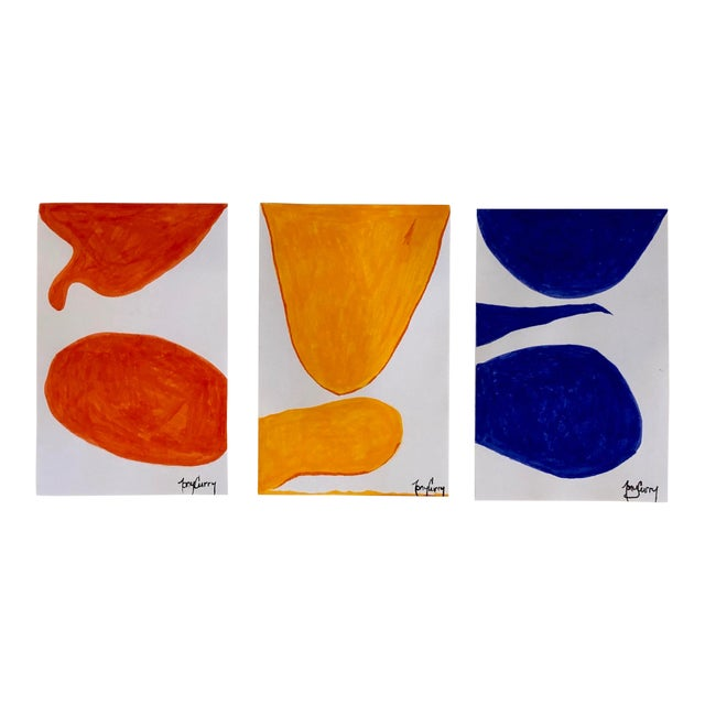 Triptych 3 Original Modern Watercolor Paintings by Tony Curry For Sale