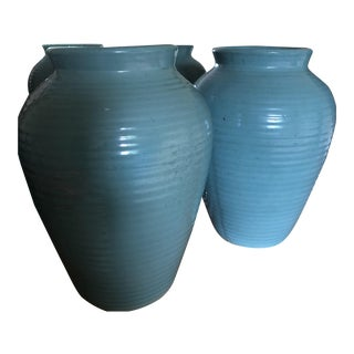 1970s Blue Green Ceramic Vases - A Pair For Sale