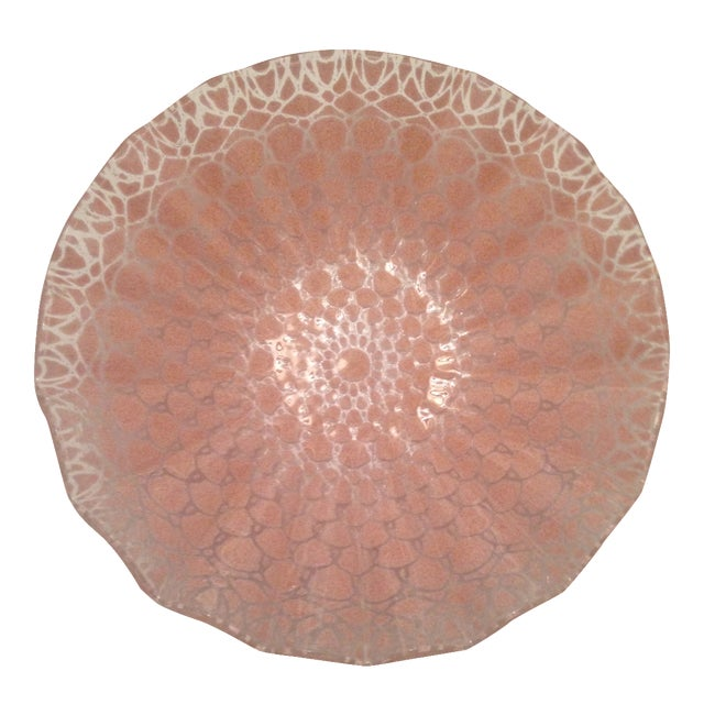 Etched Doily Pink Glass Bowl - Image 1 of 4