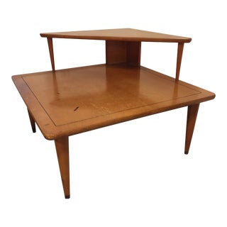1960s Mid Century Modern Tiered Corner Wood Triangle Side Table For Sale
