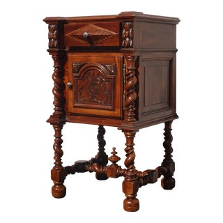 Vintage French Louis XVI Barley Twist Marble Top Nightstand For Sale