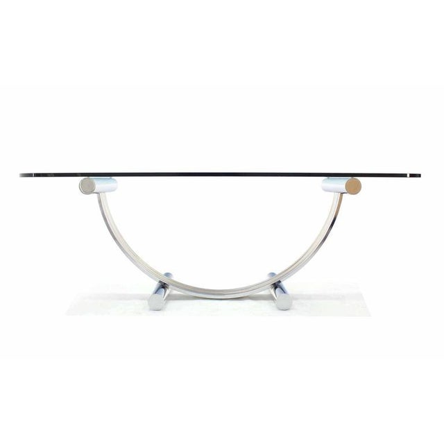 Thick Glass Top Dining Conference Table in Romeo Rega Style For Sale - Image 4 of 7