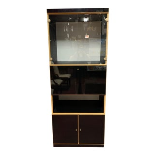 1970s Maple and Black Laminate Bar/Storage Cabinet For Sale