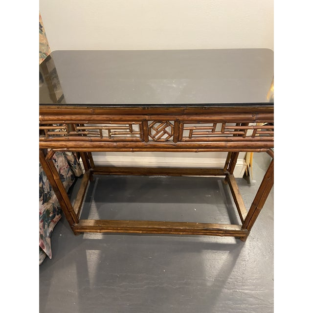 1960s Boho Chic Bamboo Walnut Console Table For Sale In Boston - Image 6 of 9
