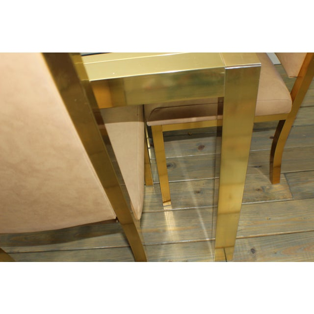 1990s Mid-Century Modern Brass Dining Table and Chairs - 7 Piece Set For Sale - Image 10 of 11
