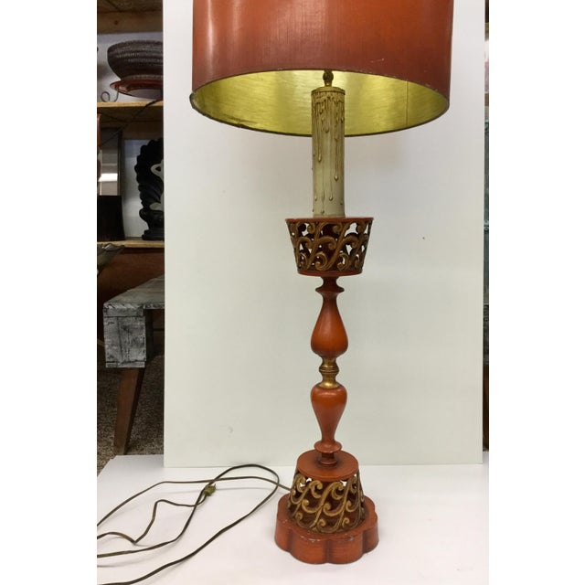 "This super tall deep coral and gilded gold lamp can be used on a table, desk, or even on the floor. A giant 48"" tall with..."