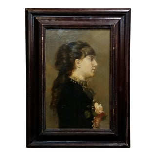 19th Century American Portrait of a Young Woman -Oil Painting