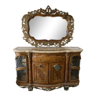 The Venetian II Sideboard From Michael Amini Aico Console With Mirror - 2 Pieces For Sale