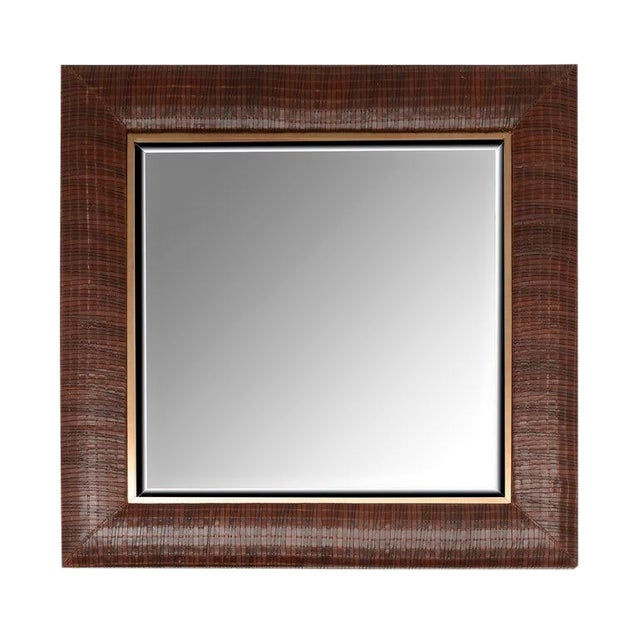 Laura Weave Leather Mirror For Sale