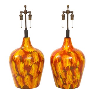 1960s Italian Ceramic Lamps - a Pair For Sale