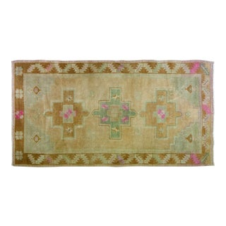 1940s Traditional Turkish Green and Pink Wool Oushak Rug - 4'8''x8'11''