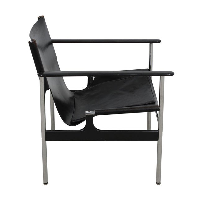Designed in 1960 by Charles Pollack for Knoll, the steel and leather 'sling chair' or '657', as it is commonly called,...