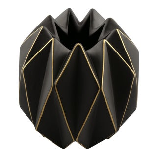 Italian Matte Black with Gold Ceramic Op Art Vase