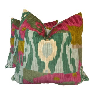 "Pierre Frey ""Bella Coola"" Acid/Lime 22"" Pillows-A Pair For Sale"