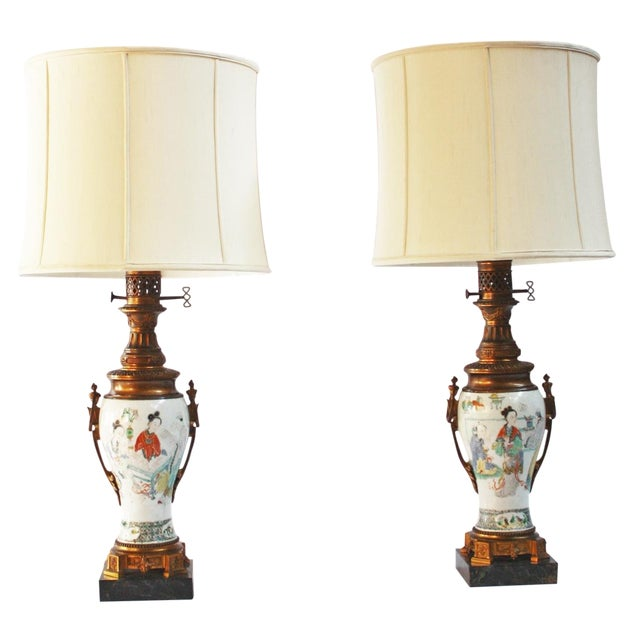Pair of 18th Century Chinese Gilt Mounted Porcelain Vases as Lamps For Sale