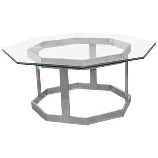 Milo Baughman Chrome Octagon Coffee Table