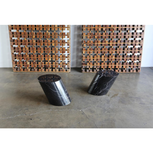 Black Marble Stump Tables by Lucia Mercer for Knoll - a Pair For Sale - Image 8 of 11
