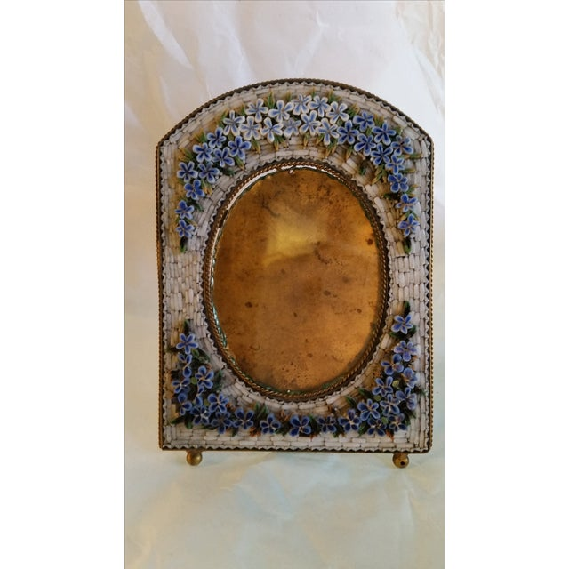Beautiful fine detailed micro mosaic picture frame from Italy, circa 1900. This has the original metal post in the back...