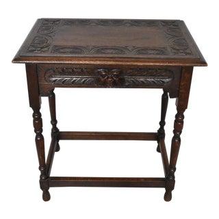 Vintage Carved English Side Table For Sale