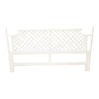 Ficks Reed Lacquered White Pagoda Bamboo King Headboard