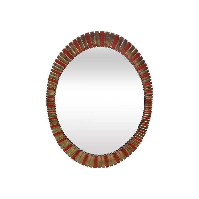 Hollywood Regency Painted Oval Mirror - Image 1 of 5