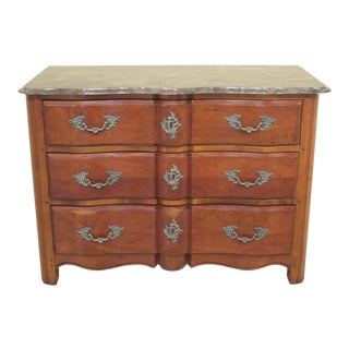 1990s Vintage Hickory Chair Co French Style Marble Top Chest For Sale