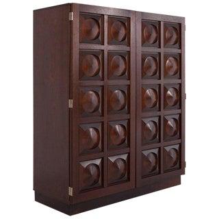 Brutalist Bar Cabinet in Dark Mahogany For Sale
