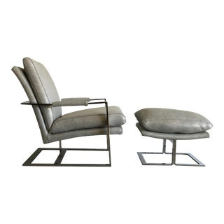 Chrome Flat Bar 1970s Lounge Chair and Ottoman in Silver Grey Metallic Leather For Sale