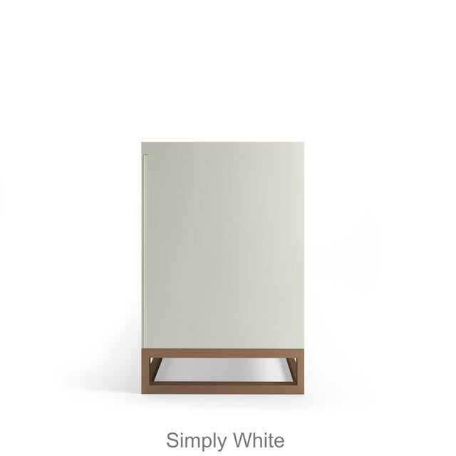 Contemporary Stria Credenza - Brushed Brass Base, White Open Pore For Sale - Image 3 of 5