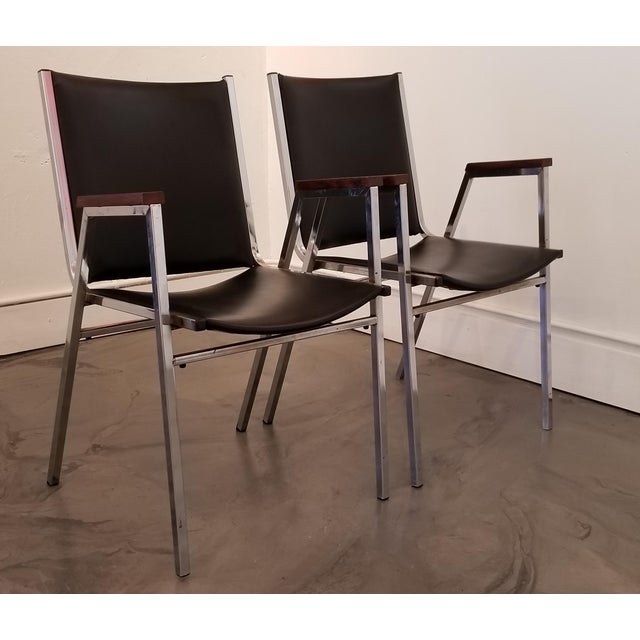 Chrome Industrial Modern Arm Chairs - a Pair For Sale - Image 12 of 12