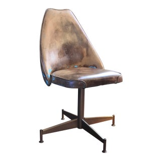 Vintage Mid Century Douglas of California Vinyl Swivel Chair For Sale