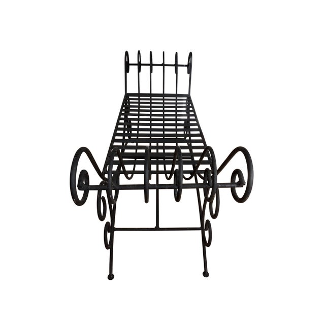 Italian Vintage Mediterranean Style Spanish Style Wrought Iron Two Seat Black Bench Seat For Sale - Image 3 of 5