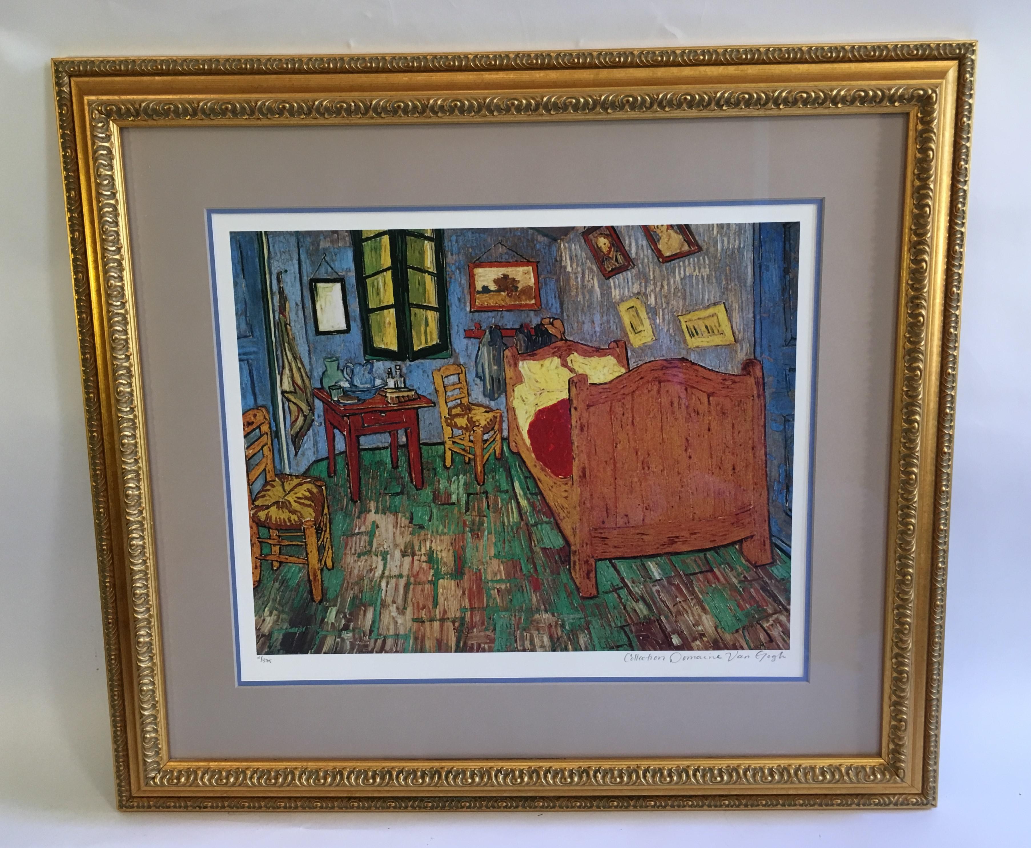 Vintage Mid Century Vincent Van Gogh La Chambre De Van Gogh A Arles Print  For