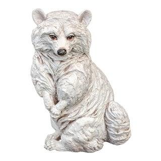 Vintage Italian Glazed Terra-Cotta Raccoon Figure For Sale