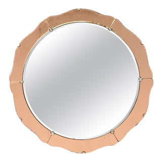 English Art Deco Round Mirror with Copper Glass (Diameter 19 3/4) For Sale