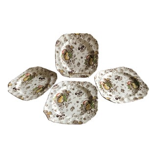 Set of 4 Square Dessert Luncheon Salad Plates - Autumn's Delight Pattern