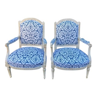 Pair of Antique 19c Paint Decorated Louis XVI Style Arm Chairs W Blue & White Damask For Sale