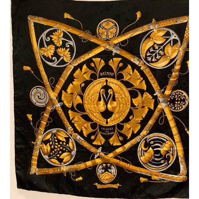 "Beautiful Hermès Jacquard Silk Scarf embellished with Samurai Swords and beautiful birds. 34"" square. No care tag."